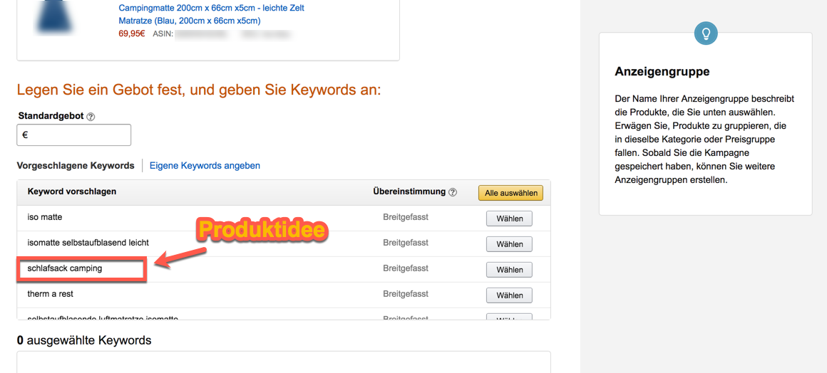 Amazon PPC suggested Keywords