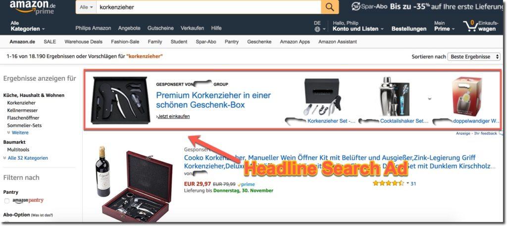 Headline Search Ads Amazon