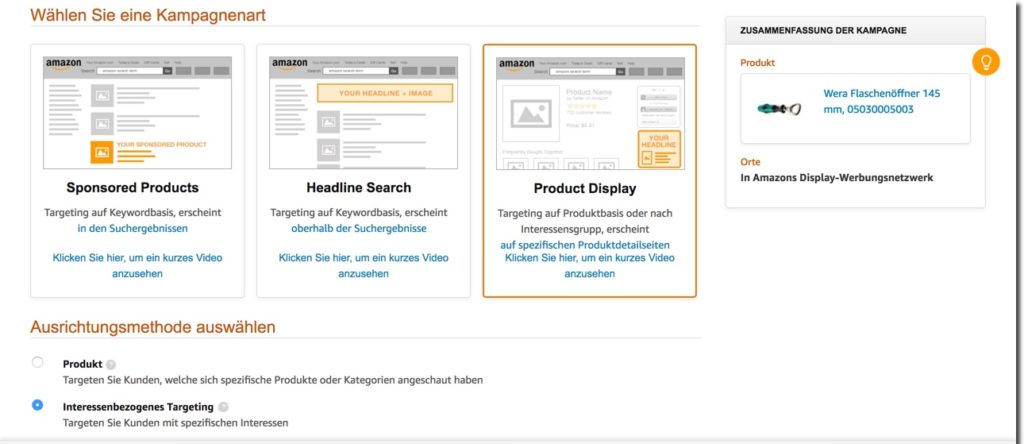 Product Display Ads Amazon